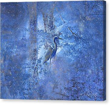 Canvas Print featuring the digital art Great Blue Heron In Cosmic Meditation by J Larry Walker