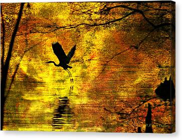 Canvas Print featuring the digital art Great Blue Heron In Moment Of Suspense by J Larry Walker