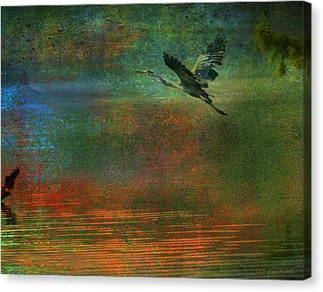 Canvas Print featuring the digital art Great Blue Heron In Mystic Flight by J Larry Walker