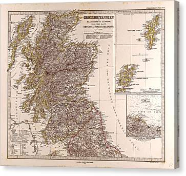 Great Britain Map Scotland 1872 Gotha Justus Perthes Atlas Canvas Print