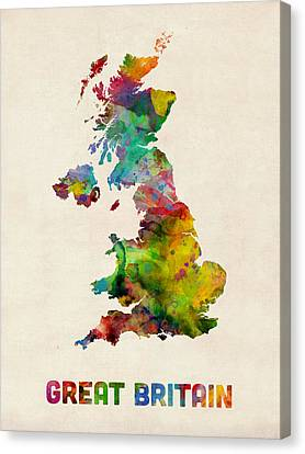 Great Britain Watercolor Map Canvas Print