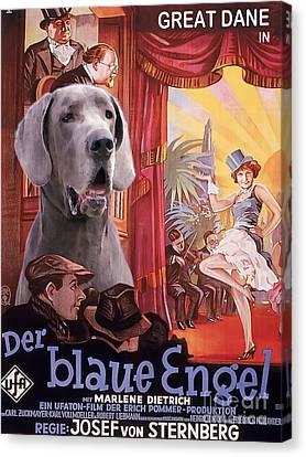 Great Dane Art Canvas Print - Der Blaue Engel Movie Poster Canvas Print