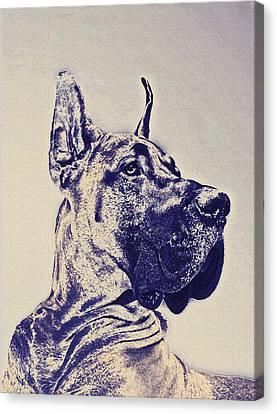 Dogs Canvas Print - Great Dane- Blue Sketch by Jane Schnetlage