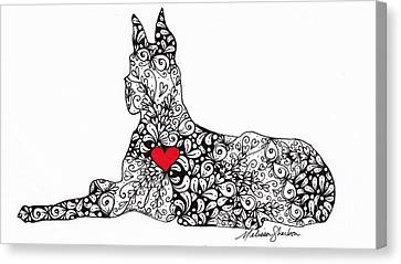 Canvas Print featuring the drawing Great Dane by Melissa Sherbon