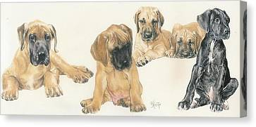 Working Dog Canvas Print - Great Dane Puppies by Barbara Keith