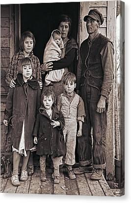 Great Depression Iowa Farm Family  1936 Canvas Print by Daniel Hagerman