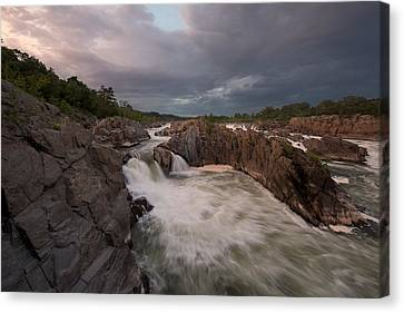 Canvas Print featuring the photograph Great Falls Rugged Beauty by Bernard Chen