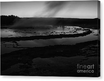 Great Fountain Geyser Black And White Canvas Print