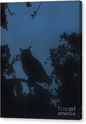 Canvas Print featuring the drawing Owl At Night by D Hackett