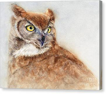 Canvas Print featuring the painting Great Horned Owl by Bonnie Rinier