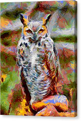 Fountain Creek Nature Center Canvas Print - Great Horned Owl Fun by Ernie Echols