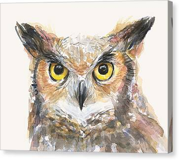 Great Horned Owl Watercolor Canvas Print by Olga Shvartsur