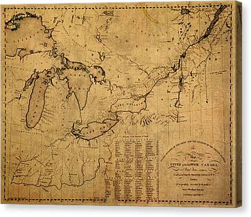 Great Lakes And Canada Vintage Map On Worn Canvas Circa 1812 Canvas Print by Design Turnpike