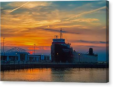 Great Lakes Freighter At Sunset Canvas Print