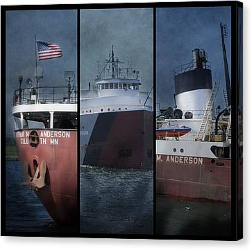 Great Lakes Freighter Triptych Arthur M Anderson Canvas Print by Evie Carrier