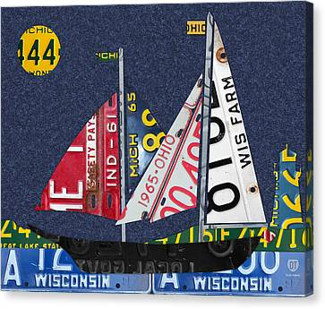 Indiana Canvas Print - Great Lakes States Sailboat Recycled Vintage License Plate Art by Design Turnpike