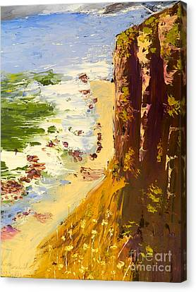 Canvas Print featuring the painting Great Ocean Road by Pamela  Meredith