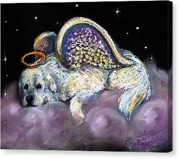 Great Pyrenees Laying Angel Canvas Print by Darlene Grubbs