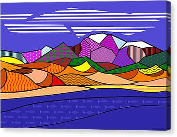 Canvas Print featuring the digital art Great Sand Dunes by Randall Henrie