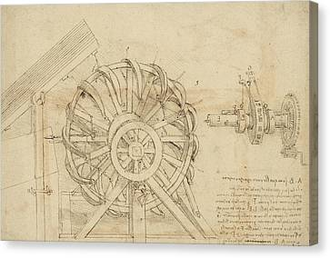 Ink Drawing Canvas Print - Great Sling Rotating On Horizontal Plane Great Wheel And Crossbows Devices From Atlantic Codex by Leonardo Da Vinci