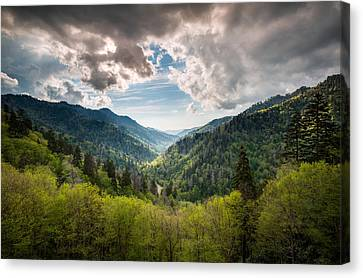 Great Smoky Mountains Landscape Photography - Spring At Mortons Overlook Canvas Print
