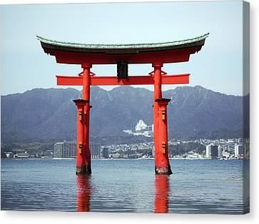 Floating Torii Canvas Print - Great Torii Gate Of Miyajima by Daniel Hagerman