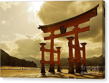 Torii Canvas Print - Great Torii Of Miyajima by Delphimages Photo Creations