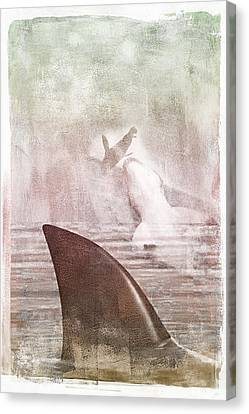 Canvas Print featuring the digital art Great White Attack by Davina Washington