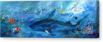 Great White Shark Coral Reef Ocean Life Canvas Print by Ginette Callaway