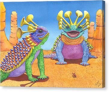 Ant Canvas Print - Greater And Lesser Horned Lizards by Catherine G McElroy