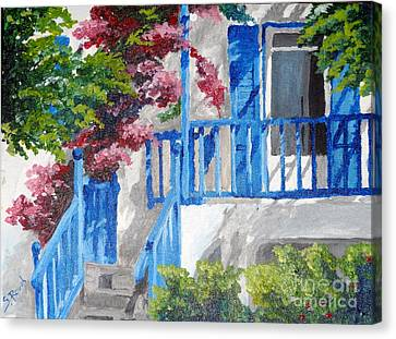 Greec House Canvas Print by Soumya Bouchachi
