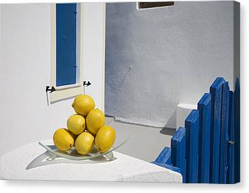 Openair Canvas Print - Greece, Cyclades, Santorini, Oia,lemons by Tips Images