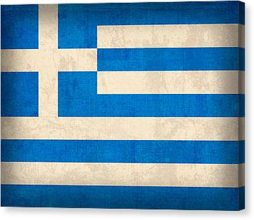 Ruin Canvas Print - Greece Flag Vintage Distressed Finish by Design Turnpike