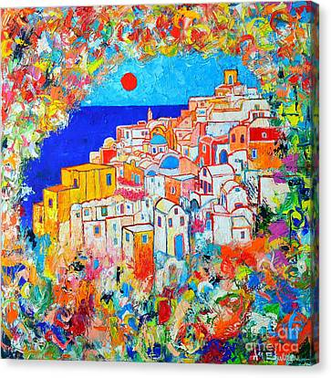 Greece - Santorini Island - Abstract Impression From Oia At Sunset - A Moment In Time Canvas Print by Ana Maria Edulescu