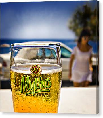 Greek Beer Goggles Canvas Print by Meirion Matthias