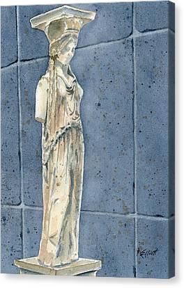 Greek Caryatid Canvas Print by Marsha Elliott