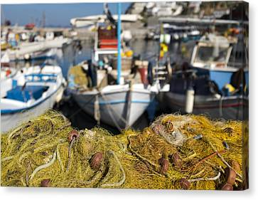 Greek Fishing Harbour Canvas Print