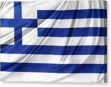 Greek Flag Canvas Print by Les Cunliffe