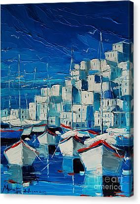 Greek Harbor Canvas Print by Mona Edulesco