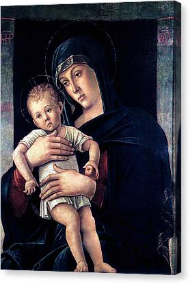Canvas Print featuring the painting Greek Madonna With Child 1464 Giovanni Bellini by Karon Melillo DeVega