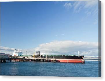 Greek Oil Tanker Docked In Scotland Canvas Print by Ashley Cooper
