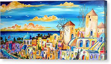 Greek Village Canvas Print by Roberto Gagliardi