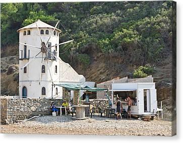 Canteen Canvas Print - Greek Windmill by Tom Gowanlock