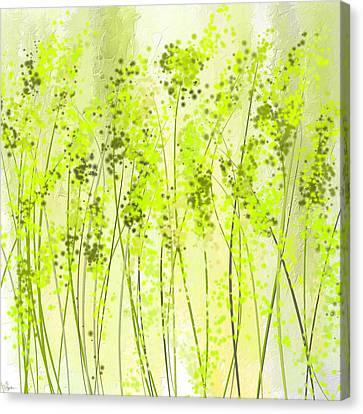 Green Abstract Art Canvas Print by Lourry Legarde