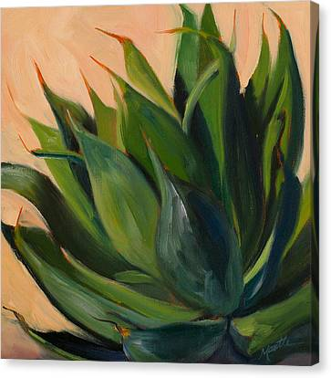 Green Agave Left Canvas Print by Athena Mantle