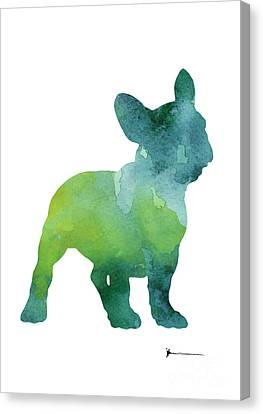 Green And Blue Abstract French Bulldog Watercolor Painting Canvas Print by Joanna Szmerdt