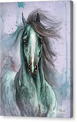 Green And Blue Arabian Horse Canvas Print by Angel  Tarantella