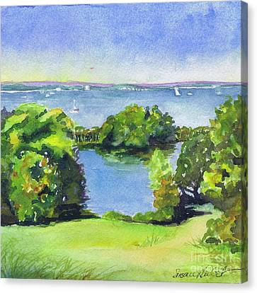Green And Blue Caumsett Canvas Print by Susan Herbst