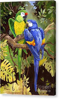 Green And Blue Tropical Macaw Canvas Print by Paul Brent