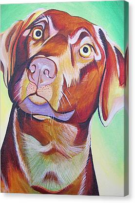 Canvas Print featuring the painting Green And Brown Dog by Joshua Morton